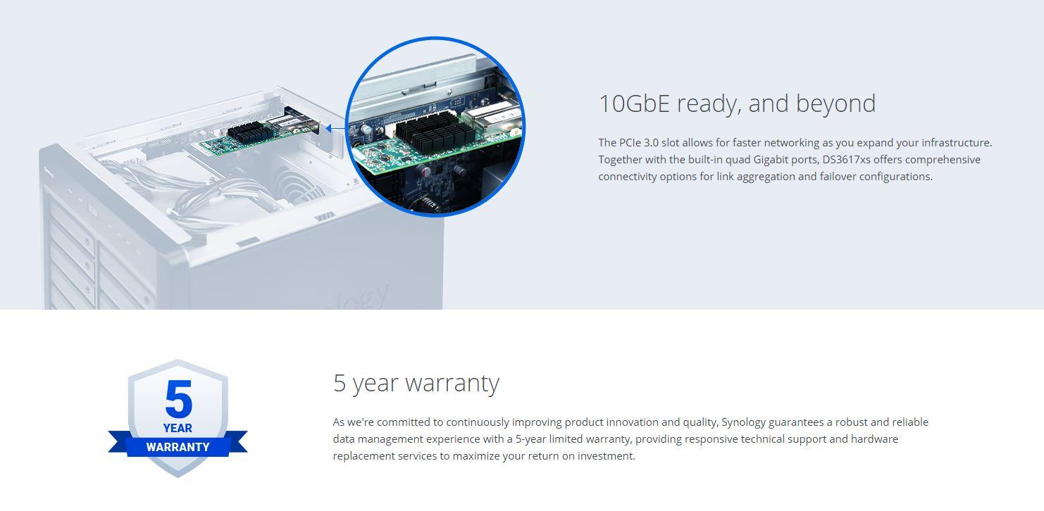 Synology DS3617xs 16GB RAM 12Bay NAS 5Years Warranty